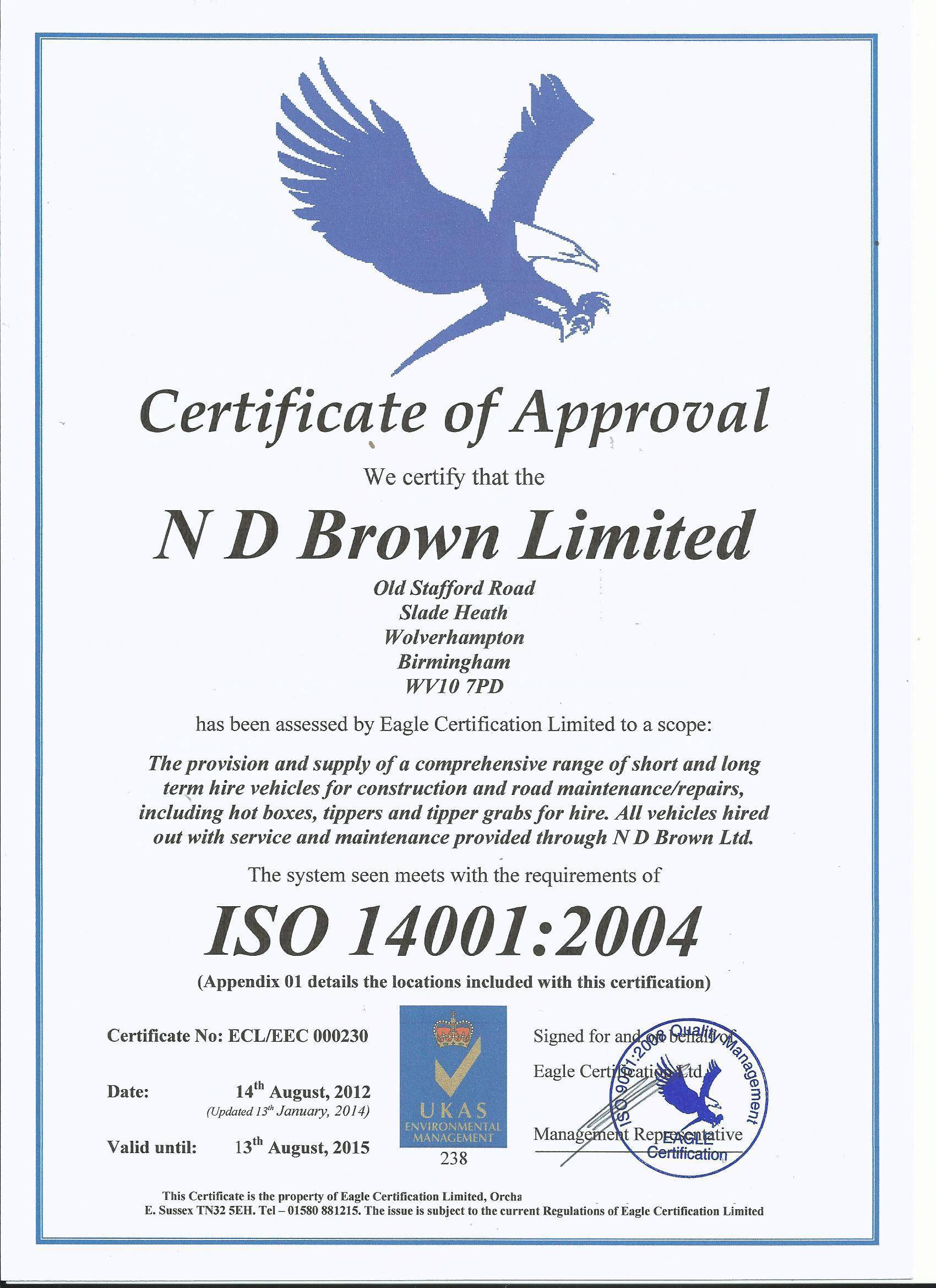 ISO 14001:2001 Accreditation Certificate for ND Brown